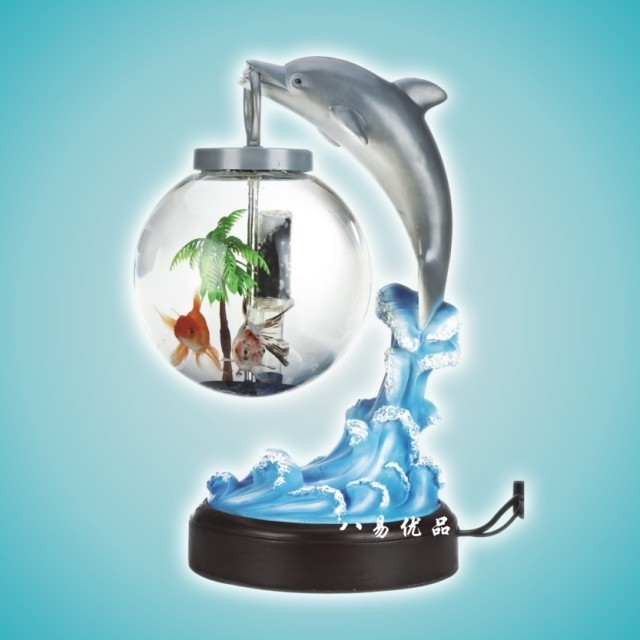 New Home Office Dolphin Gifts Ornaments Enclosed Mini Fish Tank Friend Birthday Gift