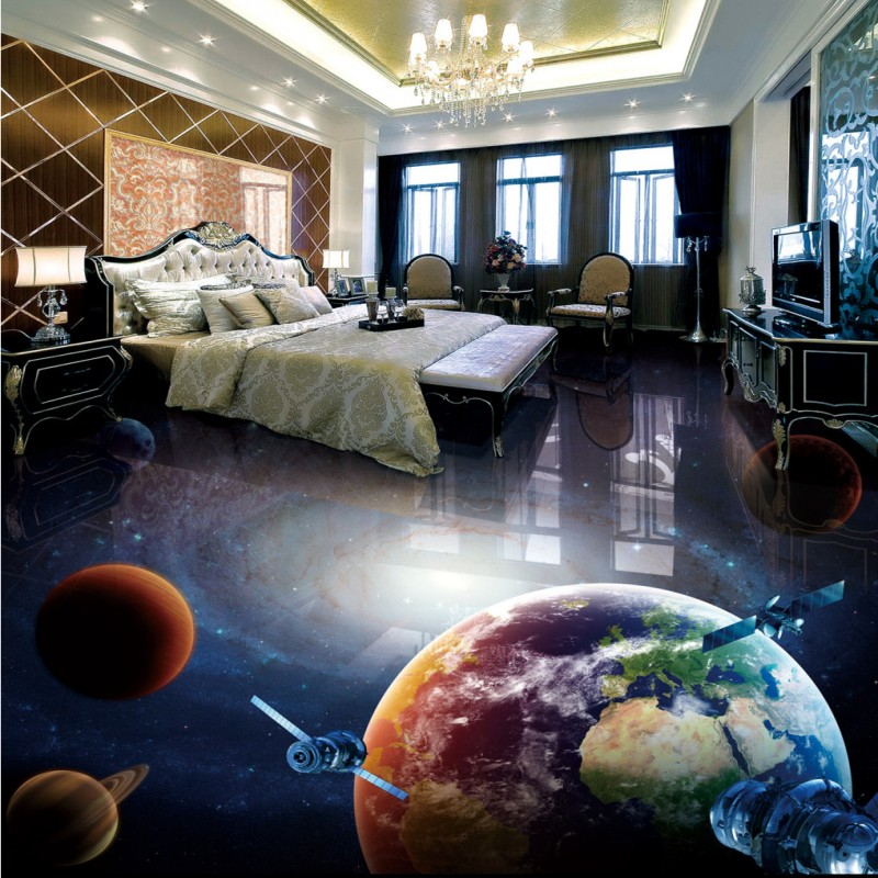 купить Free Shipping Custom Universe galaxy globe 3D stereo bathroom living room floor mural bar hotel flooring wallpaper по цене 7093.63 рублей