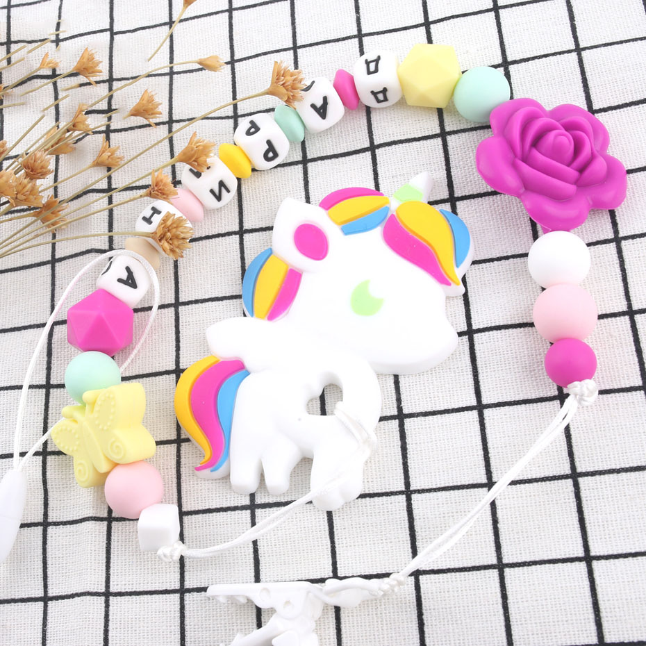 Bite Bites Unicorn Teethers Baby BPA Free Silicone Beads Pacifier Clips Silicone Rose Teething Pacifier Chain Baby Teether