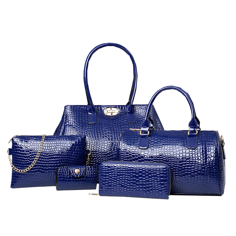 e845d2519c Women Shoulder Bags High Quality 2016 New Fashion Handbags Crocodile  Pattern Five Pieces 5 pcs set Portable Women Bag-in Shoulder Bags from  Luggage   Bags ...