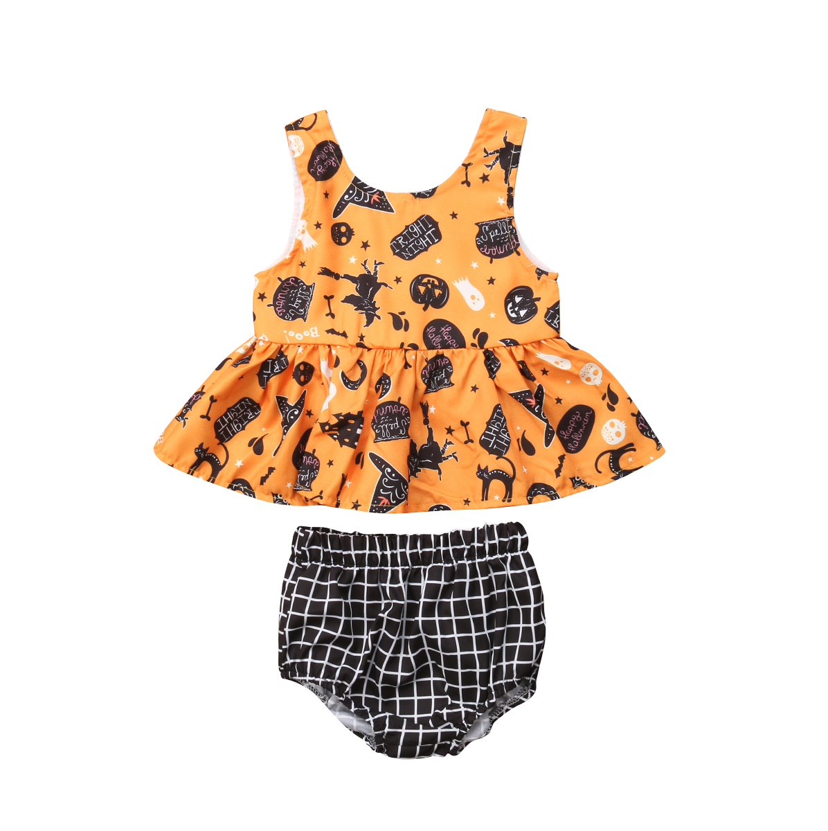 Newborn Baby Girls Halloween Sleeveless Tops Dress Plaid Pants Outfits Clothes