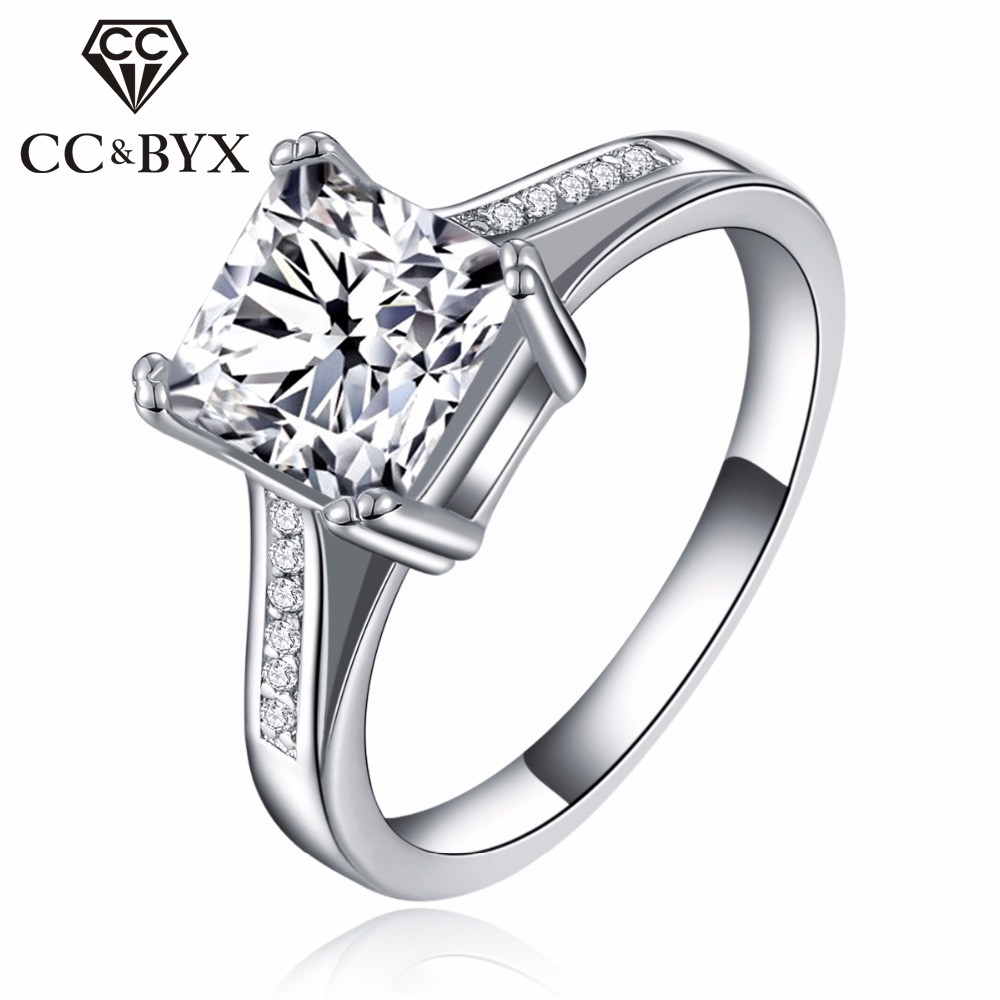 square wedding ring white gold filled square rings cubic zircon wedding 7650