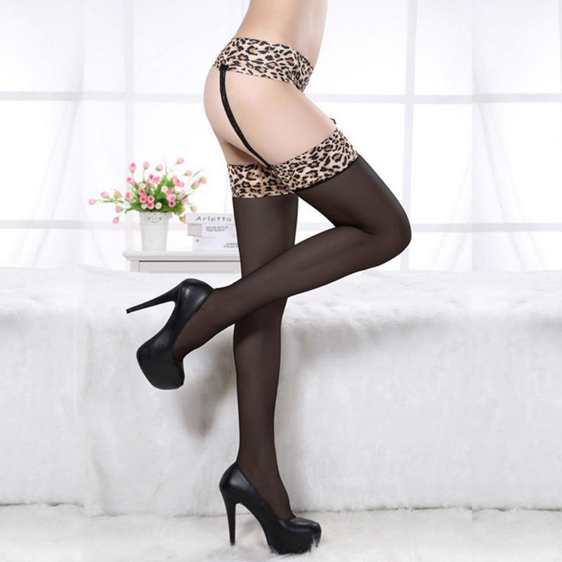 2017 Nové horké módní letní styl Sexy okouzlující ženy Dívky Black Leopard Sexy punčochy Noční kluby punčochy