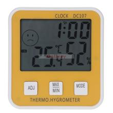 Promo offer Large Digital Lcd Indoor Temperature Humidity Meter Thermometer Hygrometer Clock Time Dc107 Digital Thermometer Hygrometer