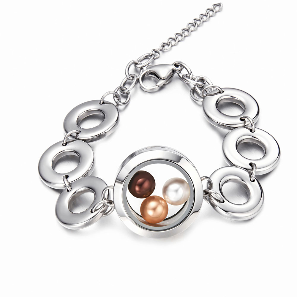 2018 Newest 316 l Stainless steel Glass locket pendant girls bracelet for fitting 8 pearl