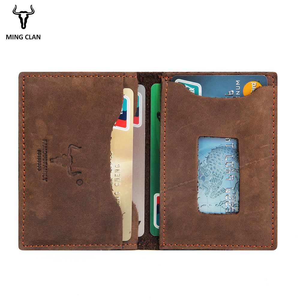 Mingclan Wallet Crazy Horse Slim Mini Wallet Genuin Leather Credit Card Holder Case ID Pocket Purses Travel Wallet Men Women цена 2017