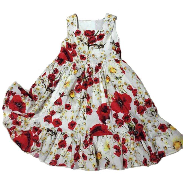 Vestidos de Colete menina 100% Algodão Traje Da Princesa Marca Vestido Crianças Headband Do Meninas Roupas Print Floral Crianças Vestido de Verão 9009