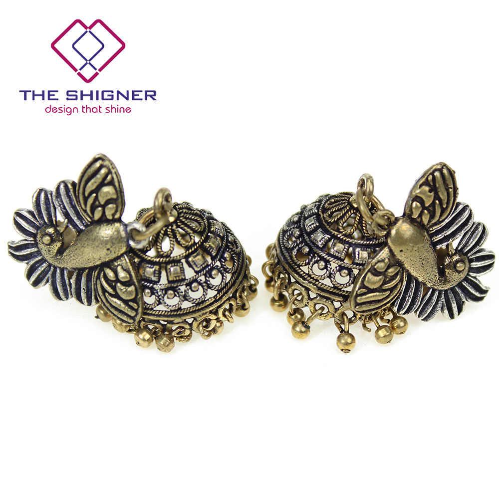 b33d10bcf ... THE SHIGNER Oxidized Dual Tone Traditional Indian Jewelry Bollywood  Ethnic Handcrafted Kashmiri Jhumka Jhumki Dangle Earrings ...