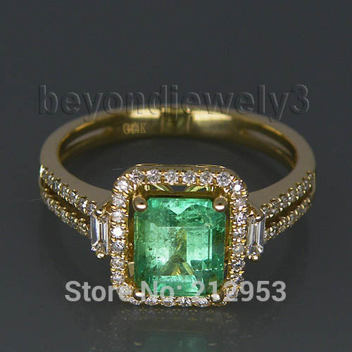 Vintage Natural Emerald Engagement Ring In Solid 14Kt Yellow Gold Diamond Baguette Colombian Gemstone Jewelry For Sale G00795
