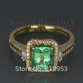 451ad25d582d Vintage natural Esmeralda anillo de compromiso sólido 14Kt oro amarillo  diamante baguette colombiano la piedra preciosa venta G00795