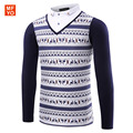 Brand 2016 Luxury style brand clothing New long sleeve Elk printing striped Lapel stitching men polo shirt homme Cotton