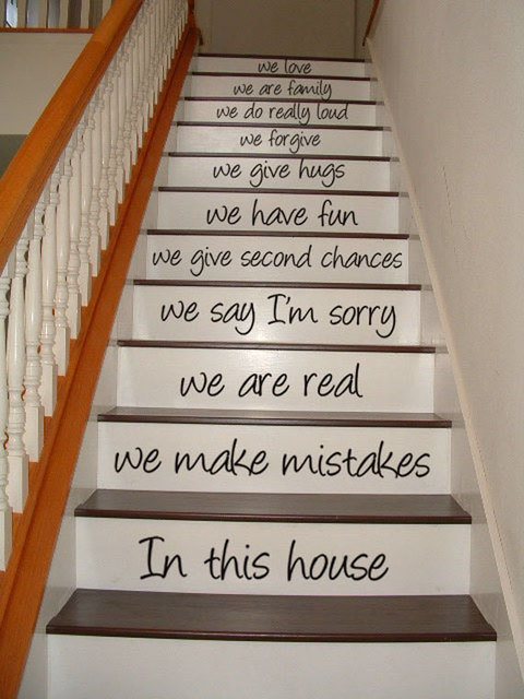 Exceptionnel Stairway Quotes Decal   In This House   Stair Case Art Decoration Vinyl  Wall Sticker Home