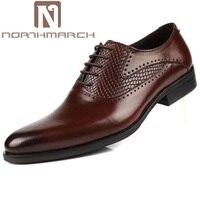 Northmarch Мужская обувь из натуральной кожи платье чёрный; коричневый итальянские модные свадебные мужские Обувь Бизнес социальных мужской Об