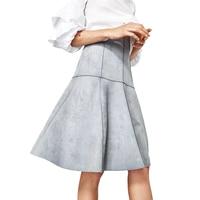 Mode 2017 Femmes Gris Jupes Taille Haute Solide Plissée A-ligne En Daim Longue Jupe Mini Preppy Femmes Élégant Doux Jupe