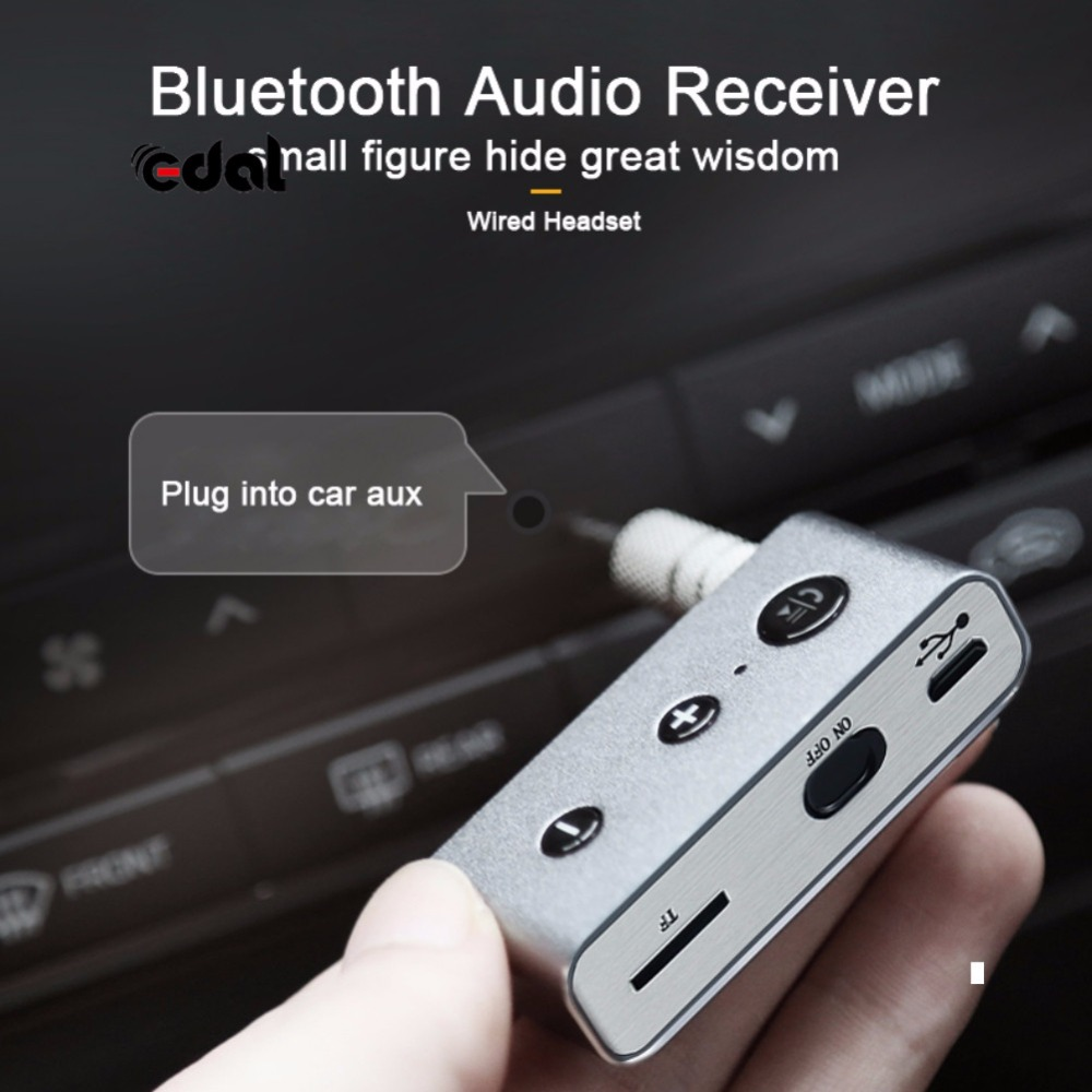 EDAL Car Kit 3.5 MM Aux Audio Adapter Musica Dail Bluetooth 4.2 Music Receiver Bluetooth Handsfree A2DP Stereo di Sostegno TF carta