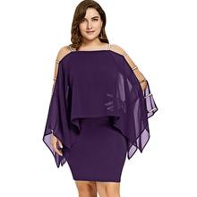 Women Summer Fashion Plus Size 5XL Dress Ladder Cut Chiffon Capelet Dress Long Sleeve Square Collar Elegant Party Dress Vestido недорого