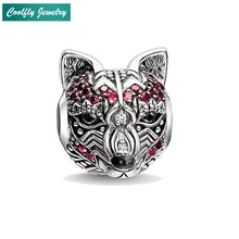 Red Zirconia-pave Fox Charm Beads Fit DIY Bracelets Trendy 925 Sterling Silver Animal Karma Fashion For Jewelry Making Perles