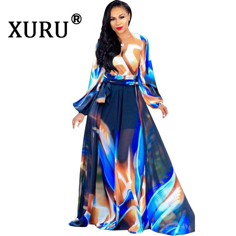 XURU Bohemian long chiffon dress women 39 s 2019 summer new digital print beach dress XL S 3XL 5XL in Dresses from Women 39 s Clothing