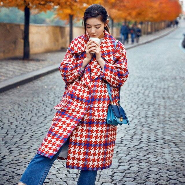 Dames de mode 2017 Nouveau Automne Hiver Manteau Classique Oversize Longue  Laine Manteau Femmes Plus Taille