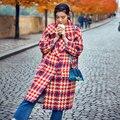 Senhoras da moda 2016 Brasão New Outono Inverno Clássico Oversize Longo Parka Coats Outwear Grosso Casaco De Lã Das Mulheres Plus Size Do Vintage