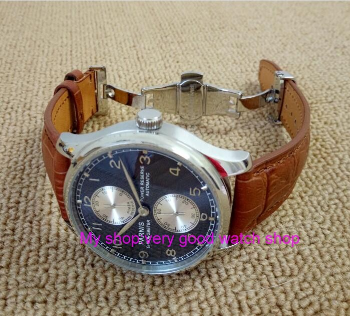 43MM PARNIS Butterfly buckle Automatic Self-Wind movement blue dial power reserve men's watch brown Leather Strap 172a 43mm parnis white dial power reserve automatic self wind mechanical movement men s watch cow leather strap butterfly button 12