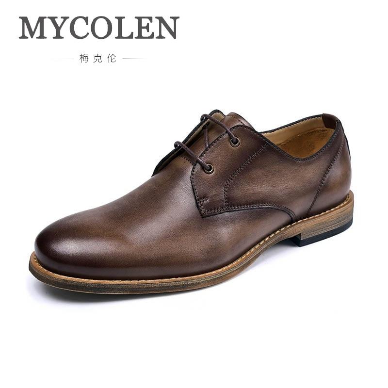 Männer Lace Verkauf Mode Frühling Herbst brown Leder Schuhe 2018 Casual Mycolen Marke Flut Heißer Up Designer Coffee xOTnpwqH