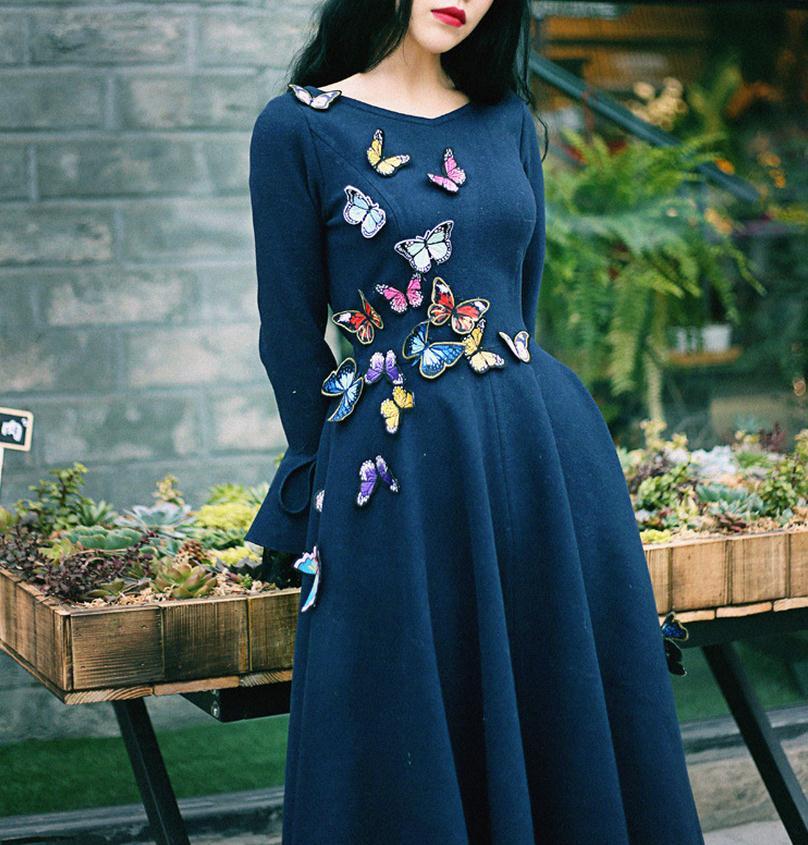 2019 primavera nuevo vestido de estilo literatura baile largo volando mariposa hecha a mano ajustado retro vestido de lana wj343 envío gratis - 2