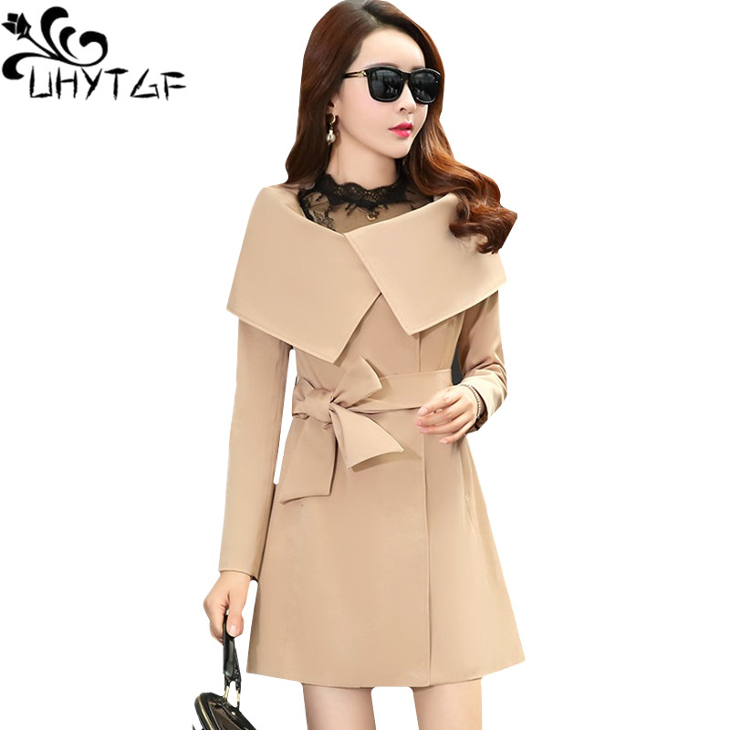 UHYTGF Spring Autumn   Trench   Coat for Women Fashion Belt Bow Slim long Windbreaker Outerwear High quality Elegant Ladies Coat 774