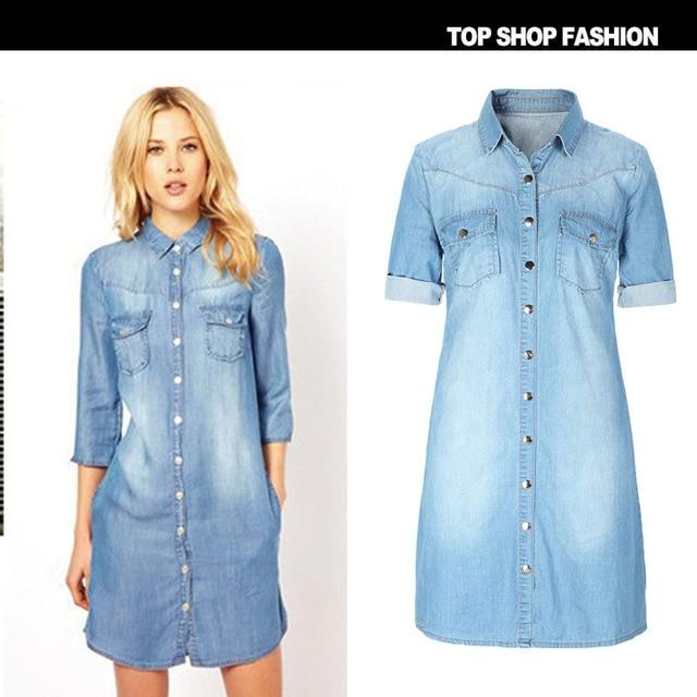 0db03211fa7f56 OGEN Denim Vrouwen Toevallige Hoge Kwaliteit Dames Mode Uitloper Blauw  Zakken Jurk