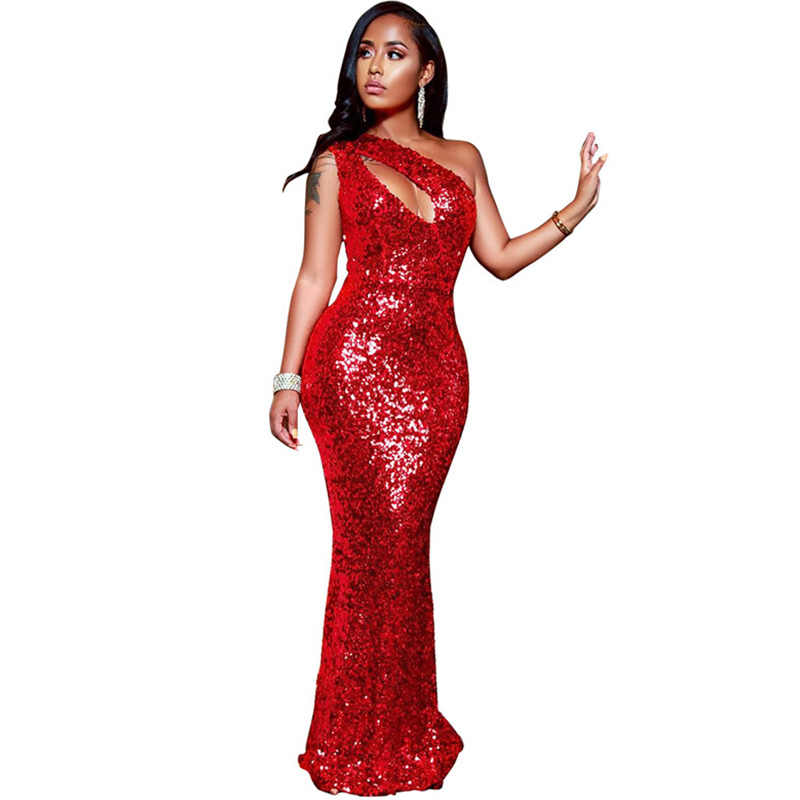 fdd1361119 Elegant Sequined Red Evening Maxi Dresses Women One Shoulder Hollow Out Long  Bodycon Dress Celebrity Sparkly