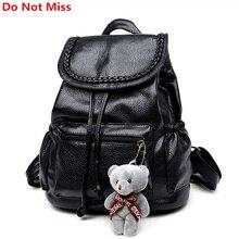 Do Not Miss New Women Backpack Lovely Bear Dolls Book Bag Preppy School Backpack Leather Black School Bag Teenager Girl Backpack