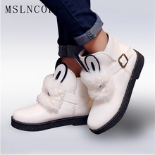 Plus size 34-45 New Womens Ankle Boots Rabbit hair Waterproof Platform Winter Fur Snow Woman Zapatos Mujer Casual Shoes