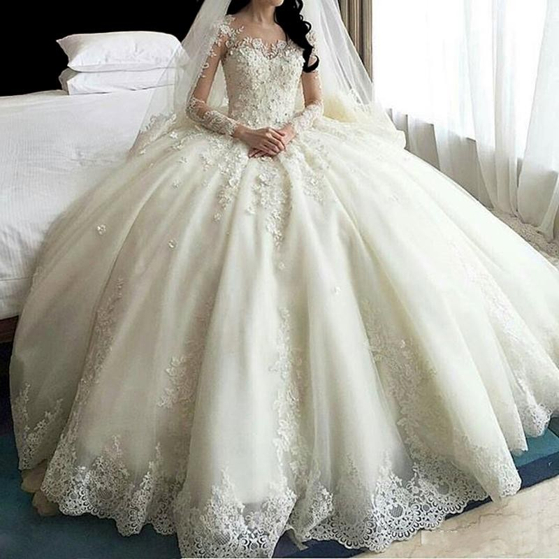 Illusion Wedding Dresses Scoop Applique Long Sleeves Sweep Train Ball Gown Bridal Dress with Back Buttons Vestido De Noiva
