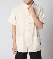 Beige Chinese Tradition Men S Kung Fu Shirt Top Summer Linen S M L XL XXL