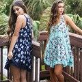 Novo verão Europeu Impressão Chiffon Costura Do Laço Vestido Sem Mangas Balanço Vestido de Verão Acima Do Joelho Vestido Ocasional de Grandes Dimensões