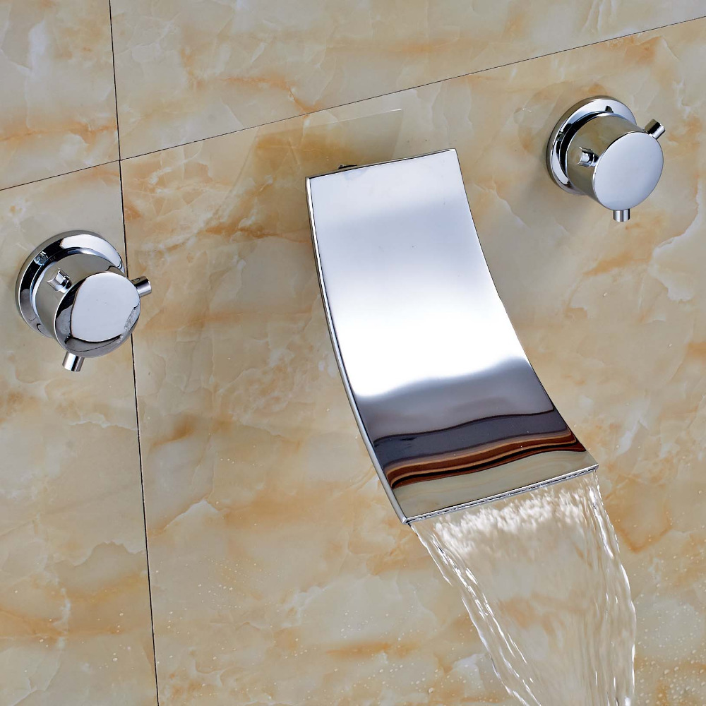 Contemporary Waterfall Spout Chrome Polish Sink Faucet Mixer Tap Ceramic Valve Bathroom Tub Faucet waterfall spout chrome brass bathroom tub faucet 3 pcs sink mixer tap