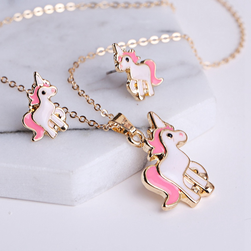 1 set Hot Sale Pink Animal Jewelry Set Chain Kids Jewelry Cartoon Horse Dog Necklace Earring Jewelry Sets For Girls Best Gifts