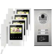 4.3″ HD Monitor Apartment Video Door Phone Doorbell System CMOS 700 TVLine IR Camera Touch Key for 4 Families