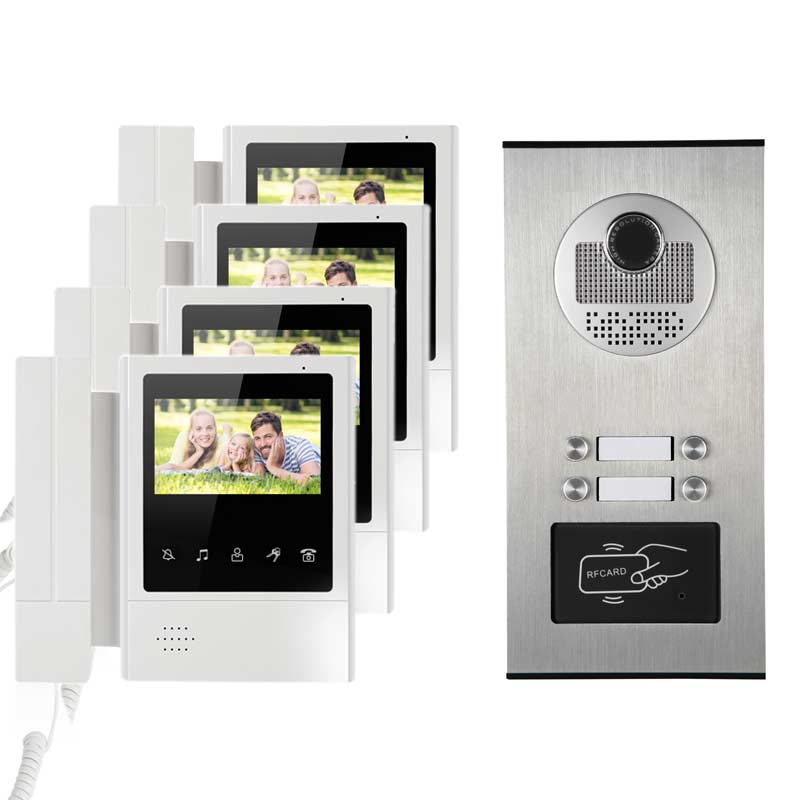 4.3 HD Monitor Apartment Video Door Phone Doorbell System CMOS 700 TVLine IR Camera Touch Key for 4 Families