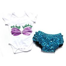 2017 rompers + cute mermaid bloomer girls clothes set floral girl set summer girls outfits promotion girls boutique clothing