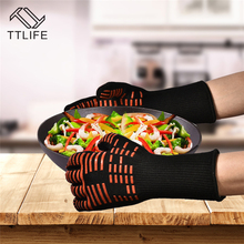 TTLIFE Oven Mitts Gloves BBQ Grilling Cooking Gloves – 932F Extreme Heat Resistant Gloves Long For Extra Forearm Protection