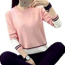 2016 New Hot Women's Small Fresh Sweater Casual Fashion Slim Bottoming Shirt Hit Color Knit sweater