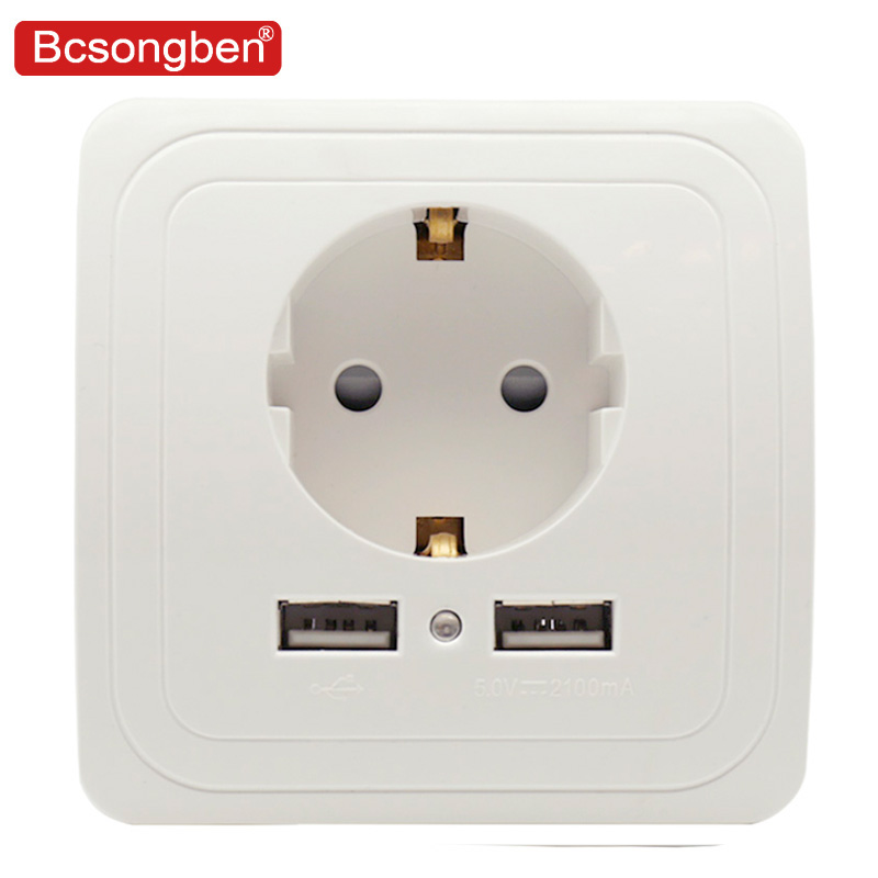 Bcsongben pop Dual USB Port 5V 2A Electric Wall Charger Adapter EU Plug Socket Switch Power Dock Station Charging Outlet Panel dock connector to usb cable