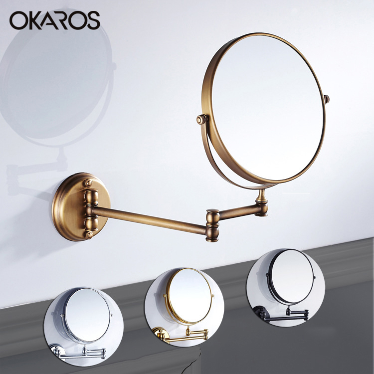 Okaros 8 Inch Bathroom Mirror Dual Arm Extend 2 Face Round Copper Framed Make Up Mirror Chrome Wall Mounted 1x3x Magnifying