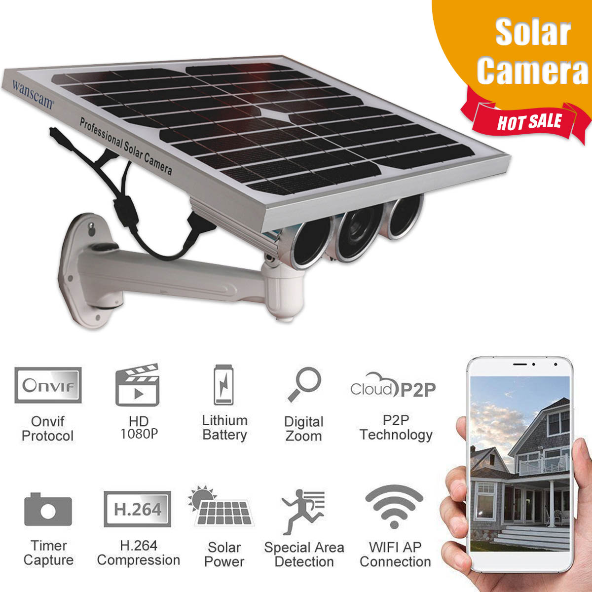 Solar Power Security IP Camera WiFi 1080P Outdoor Wireless Video Surveillance P2P Motion Detection CCTV Camera bw cctv ip wifi wireless camera p2p infrared motion