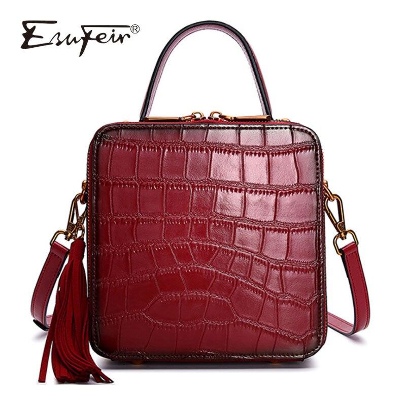 ESUFEIR New Genuine Leather Women Handbags Alligator Stitching Ladies Shoulder Bag Tassel Messenger Bag Vintage Small