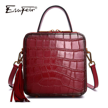 ESUFEIR New Genuine Leather Women Handbags Alligator Stitching Ladies Shoulder Bag Tassel Messenger Bag Vintage Small Square Bag