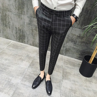 Мужские клетчатые брюки Pantalon Clasico Hombre, красные брюки для свадьбы, деловые брюки зеленого и черного цветов, облегающие брюки