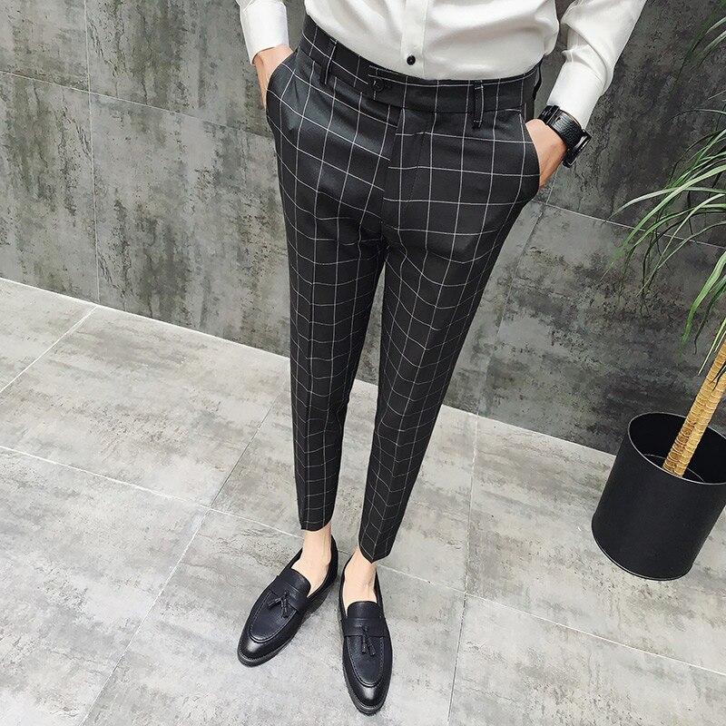 Pantalon Clasico Hombre Plaid Suits Trousers Mens Wedding Pants Red Men Office Pants Green Black Business Pants Slim Fit