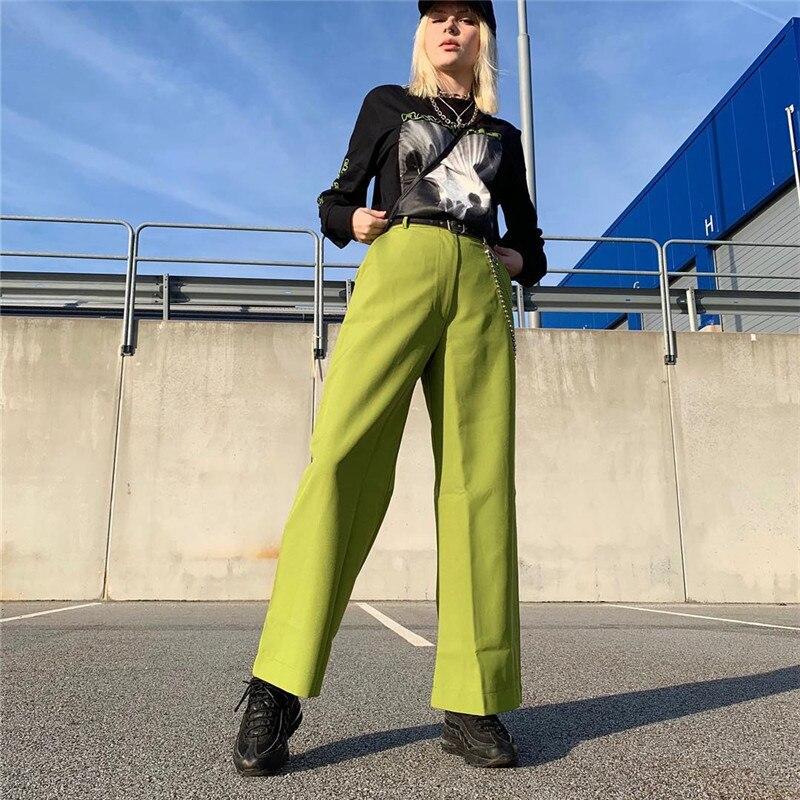Harajuku Korean Wide Leg Pants Baggy High Waist Trousers Woman Casual Pants Capris Streetwear Green Black Summer 2019